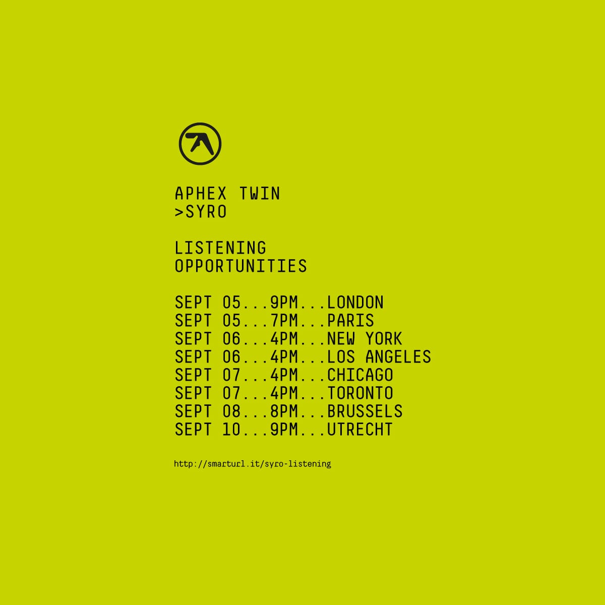 4Pm Cet To Pst aphex twin announces syro international listening events
